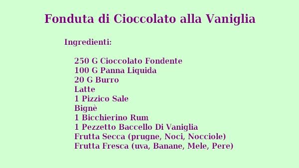 Fonduta di Cioccolato alla Vaniglia