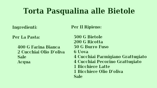 Torta Pasqualina alle Bietole